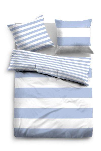 Luxus Bettwäsche-Set Bettbezug 140x220+Kissenbezüg Baumwolle Blau Grau Streifen