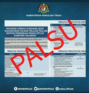 Kenyataan Palsu Mengenai Sop Pergerakan Pelajar Ipt Semasa Pkp Info Boarding Pass