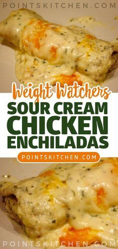 Weight Watchers Chicken Enchiladas Recipe - A delicious lighter version of the Mexican dinner. 7 WW Freestyle Points and 7 Smart Points. Skinny Recipes, Ww Recipes, Mexican Food Recipes, Dinner Recipes, Dessert Recipes, Sour Cream Recipes Dinner, Breakfast Recipes, Recipies, Breakfast Dessert