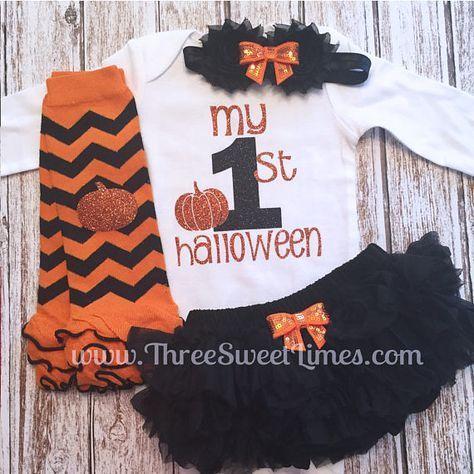 Girls Pumpkin 1st Halloween set 1st Halloween shirt- First Halloween Outfit- Girls Halloween Bodysuit or shirt girls