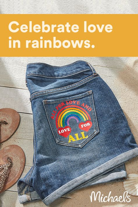 Show your pride with these bright and fun All for Love Denim Shorts. Simply use your Cricut® machine and cut the pieces from Siser® Heat Transfer Vinyl (HTV), then press to your shorts.