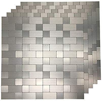 Amazon Com Art3d 5 Piece Peel And Stick Tile Metal Backsplash For