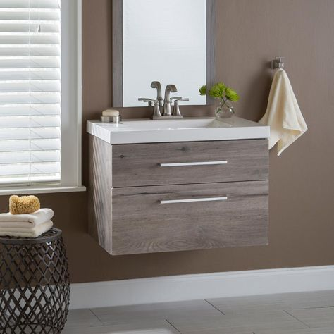 Domani Larissa 30 in. W x 19 in. D Wall Hung Bath Vanity Washed Oak with Cultured Marble Vanity Top in White with Basin-LR30P2-WO - The Home Depot