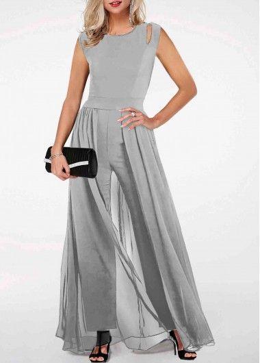 Rotita Com Usd 33 03 In 2020 Light Grey Jumpsuit Grey Jumpsuit High Waist Jumpsuit