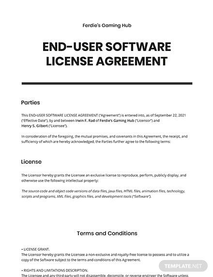 End User Software License Agreement Template Agreement Word Doc Templates