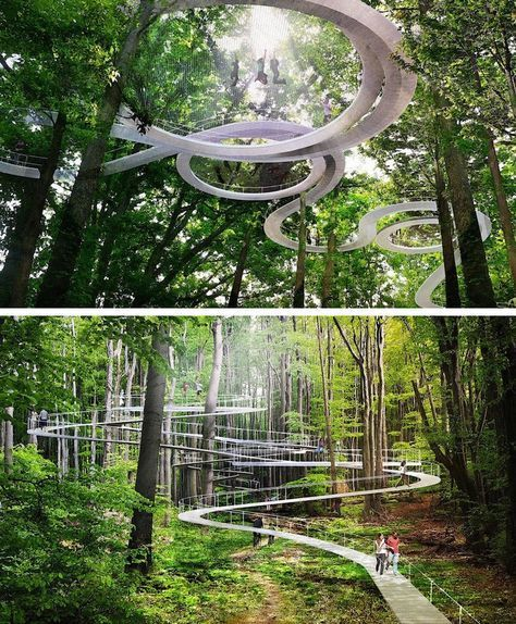 Parking Design Elevated Forest Park Includes A Trampoline To Bounce Among The Treetops Lanskap