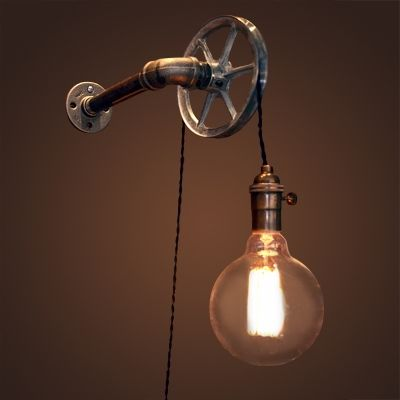 Industrial Wall Sconce With Wheel And Adjustable Hanging Cord Bronze Industrial Wall Sconce Wall Lamp Wall Sconces Wall light fixtures with cord