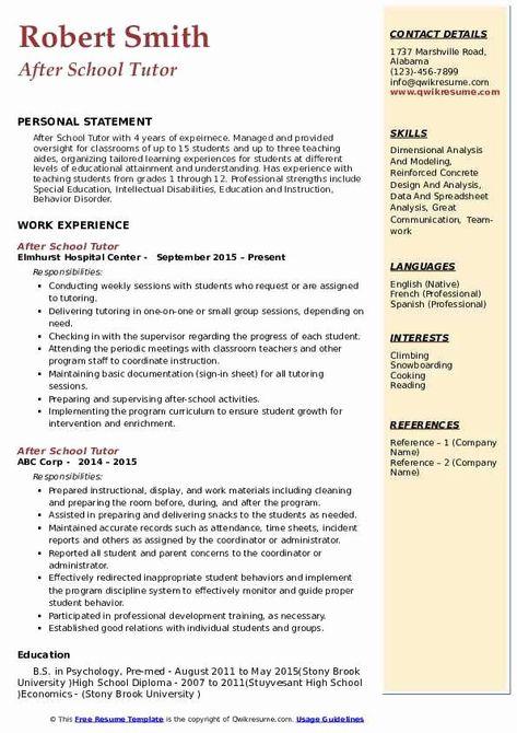 After School Program Resume Best Of After School Tutor Resume Samples After School Program School Programs After School Tutoring