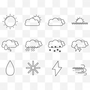 Weather Set Icon Design Outline Set Icons Included As Sun Rain Sunset Snow Thunder And Wind Sun Icons Weather Icons Wind Icons Png And Vector With Transparen Weather Icons Icon Design