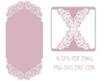 Gate Fold Wedding Invitation Laser Cut Pattern Card Template