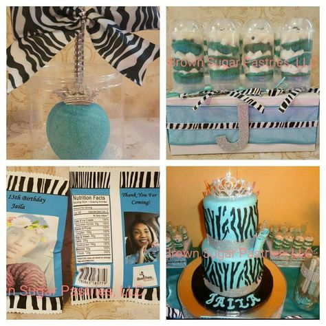 Turquoise And Zebra Print Birthday Party  #brownsugarpastries #homemadetreats #BSP #turquoiseandzebraprint #zebraprintcake #chocolateapples #cakepushpops #treatbags