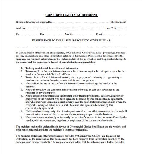 free real estate confidentiality agreement template word pdf - vendor confidentiality agreement