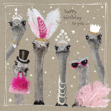 "A lovely birthday card from our Fancy Pants animal range, featuring some very glamourous ostriches. With caption: ""Happy Birthday to you"""