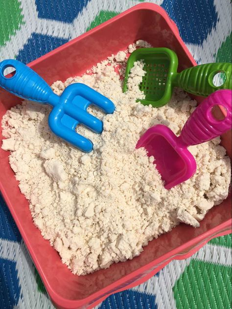 Taste Safe Cloud Dough for Baby Sensory Play These days, at 10 months old, Baby Bear is quite the bu Edible Sensory Play, Baby Sensory Play, Baby Play, Fun Baby, Baby Messy Play Ideas, Baby Sensory Bags, Sensory Table, 10 Month Old Baby Activities, Infant Activities