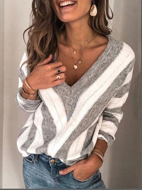 Women Blouse 2020 Spring Autumn V Neck Long Sleeve Striped Knitted we – Jartini blouses shirts style blouses designs blouses for women casual women tops shirt blouse#shirts#sweatheart#croptop#shirtdesigh#fashion