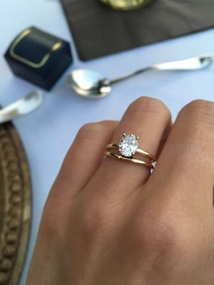 2 CT Oval-Cut Diamond Solitaire Engagement Bridal Ring Set In Yellow Gold Fn 2020 Wedding rings ideas and engagement 1 carat diamond engagement rings Engagement Solitaire, Classic Engagement Rings, Rose Gold Engagement Ring, Diamond Wedding Bands, Diamond Rings, Engagement Jewellery, Solitaire Rings, Oval Shaped Engagement Rings, Traditional Engagement Rings