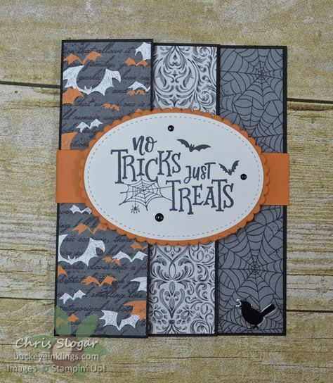 Accordion Halloween by Chris Slogar - Cards and Paper Crafts at Splitcoaststampers Fun Fold Cards, Folded Cards, Paper Cards, Halloween Paper Crafts, Handmade Halloween Cards, Handmade Fall Cards, Halloween Bags, Halloween Items, Homemade Halloween