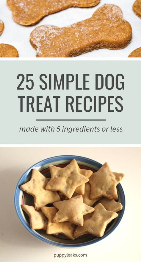 Looking for some easy dog treat recipes to try out? Here's 25 simple dog treat recipes, all made with 5 ingredients or less.