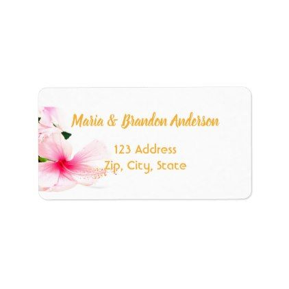 Custom Return Address Pink Tropical Floral White Label Zazzle