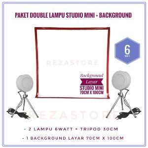 Paket Double Lampu Foto Studio Mini 6 Watt Bulat Gratis Background Tripod Mini Murah Lighting Foto Produk By Rezastore Studio Mini Tripod