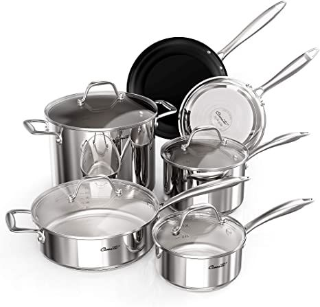 Ciwete 18 10 Stainless Steel Cookware Set 10 Piece Kitchen Induction Pots And Pans Set With Tempe In 2021 Cookware Set Stainless Steel Pots And Pans Sets Cookware Set Non stick stainless steel cookware set
