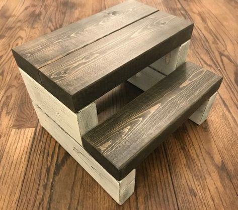 A beautifully crafted segmented kids step stool made to withstand everyday toddler use. With steps that are stained and polyurethaned for durability and an amazing look. The supports are painted with several coats of your choice of paint color. We would be more than happy to do