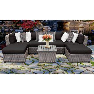 Florence 7 Piece Outdoor Wicker Patio Furniture Set 07a Black