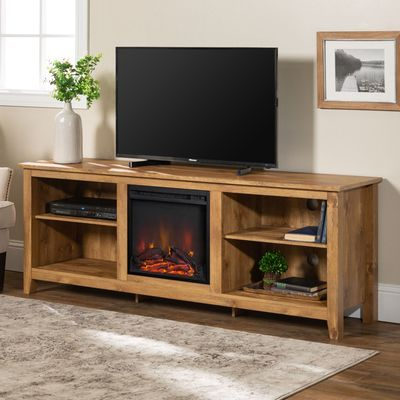 Traditional 70 Barnwood Wood Fireplace Tv Stand Console Living Room Storage Wood Fireplace Walker Edison Furniture Company