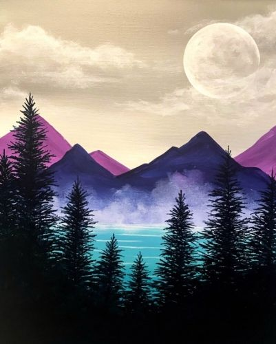 Misty Mountain Woodlands Acrylic Painting Canvas Canvas Painting Painting Art Projects