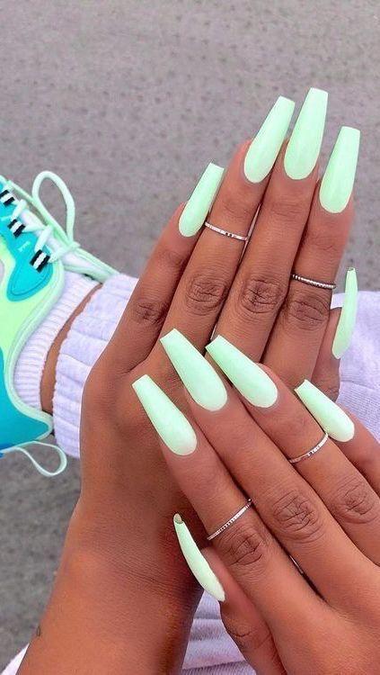 Illuminiert Mint Green Nails In 2020 Best Acrylic Nails Acrylic Nails Coffin Short Vibrant Nails