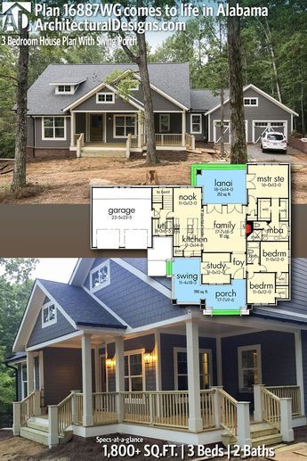 Plan 16887wg 3 Bedroom House Plan With Swing Porch Craftsman House Plans Craftsman House House Plans Farmhouse