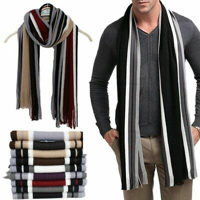 Gentle Men Classic Shawl Winter Warm Fringe Stripe Tassel Long Soft Scarf Wrap #