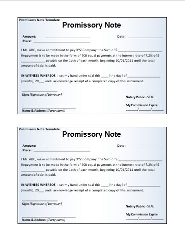 Promissory-Note-Template wordstemplates Pinterest Promissory - sample promissory note