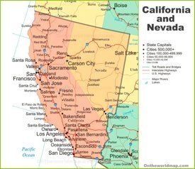 Map Of California And Nevada In 2020 California Map Nevada Map