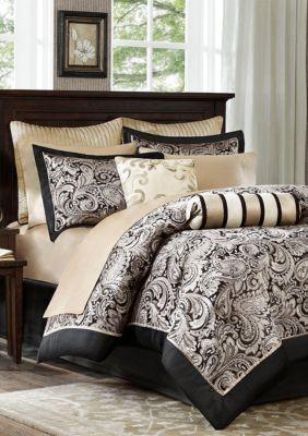 Aubrey 12 Piece Complete Bed Set Black Luxury Comforter Sets