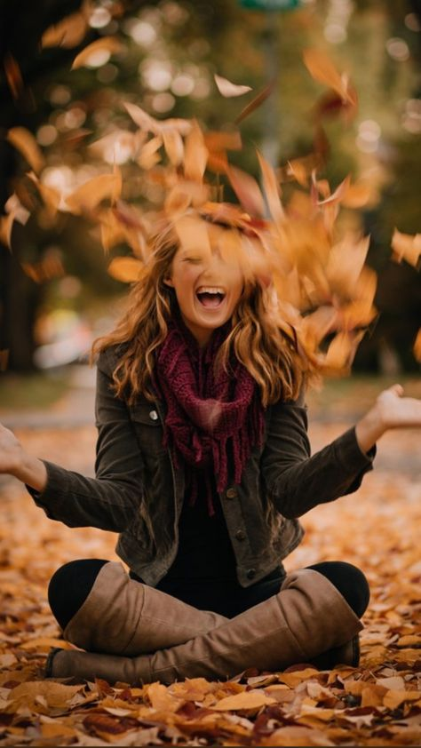 Creative Senior Photography, Falling Leaves Portraits, Creative Photography Ideas