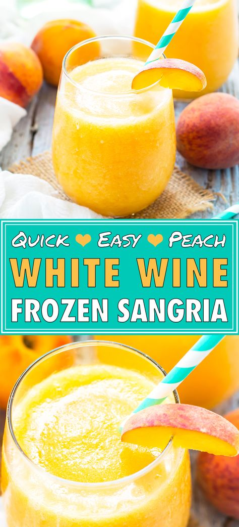 White Wine Sangria, Peach Sangria, Peach Wine, Sangria Cocktail, Drinks Alcohol Recipes, Drink Recipes, Non Alcoholic Drinks, Coffee Recipes, Cocktail Recipes