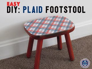 Diy Plaid Footstool Makeover With Images Rustic Footstools