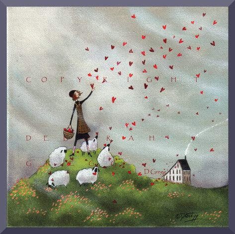 "Deborah Gregg, ""Where She Goes Love Follows"". I love those sheep."