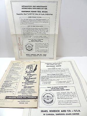 Amazing Sears Craftsman Jointer Planer Model Manual Parts List Motor