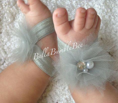 fe11e89efc8189 Gray Baby Barefoot Tulle Flower Sandals for Newborn Infant or Toddler Girls