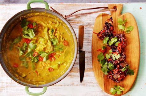 If you fancy a soup with a difference then this chicken laksa is a spicy noodle squash broth is perfect and makes a healthy and warming dish on a cold day.