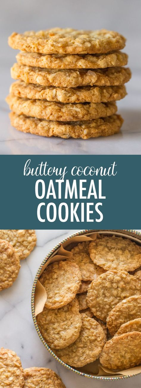 If you love thin, crisp-edged, buttery, chewy, sweet and salty cookies, these Buttery Coconut Oatmeal Cookies are for you! #coconutoatmealcookies #oatmealcookies #sweetandsalty #buttery #cookies #dessert #snack