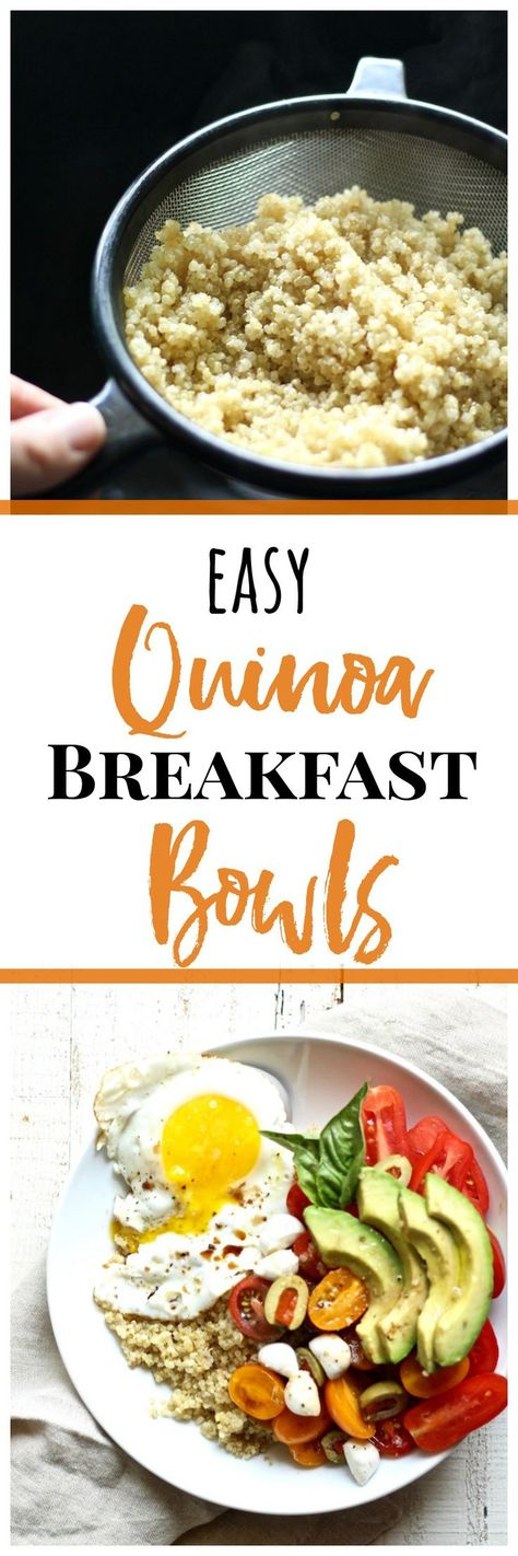 Try this easy quinoa breakfast bowl. It's a healthy, gluten free recipe packed with protein and nutrition from the sweet cherry tomatoes and olives, eggs,…