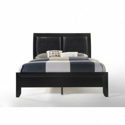 Details About King Bed Black Wood Bedframe Padded Leather