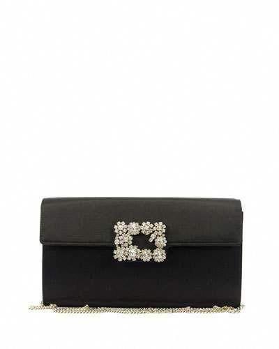 V36GD Roger Vivier Floral Crystal-Buckle Clutch Bag eacfa00629f9f