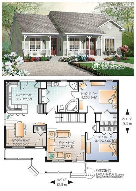 Bungalow champêtre très économique avec fenestration bien répartie !   http://www.dessinsdrummond.com/detail-plan-de-maison/info/1002575.html