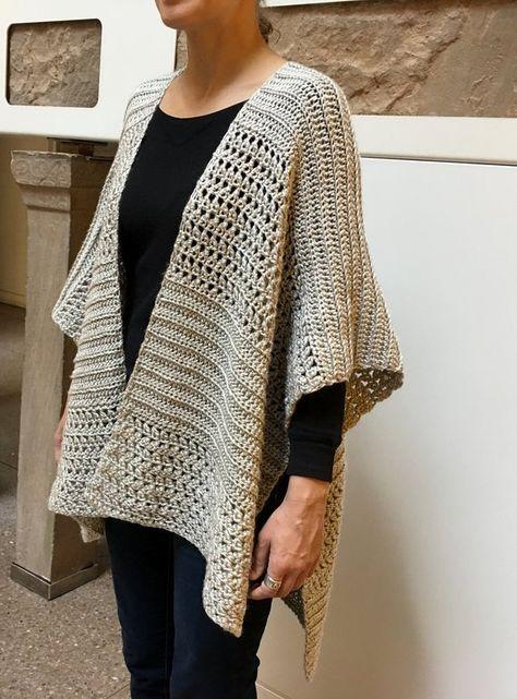 Crochet Sweater PATTERN, Crochet Shrug, Crochet Poncho, Crochet Ruana, Shawl, Wrap, Blanket Shawl, Crochet Accessories for Women, PDF, DIY: This KnotYourselfOut crochet ruana pattern / wrap is named: ROCKIN-IT RUANA. I really do like this ruana. It is very versatile and can be worn