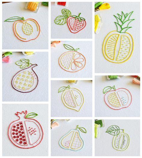 Chopped Fruit hand embroidery pattern, 10 pattern bundle, modern embroidery, fruit designs, embroidery patterns, embroidery PDF, PDF pattern