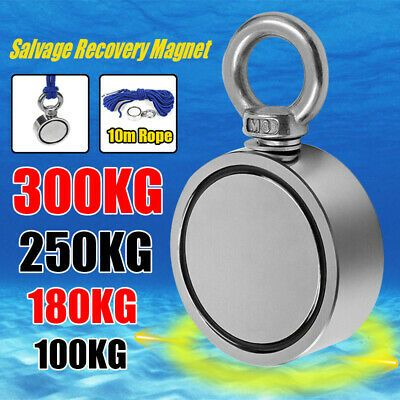300KG Super Strong Salvage Recovery Magnet Double Side  Fishing Hunting+10M